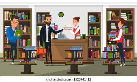 Bookstore interior flat vector illustration. Cheerful seller, librarian and customers cartoon characters. Literature sale business, library. Young man buying books, student carrying textbooks