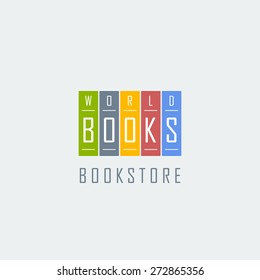 bookstore logo template. five colorful books isolated on grey background. vector illustration