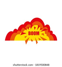 Boom banner. Boom bubble. Abstract boom illustration for banner design. Modern abstract art. Boom, speech bubble. Explosion cloud. Sticker style. Banner design. Vector icon. EPS 10