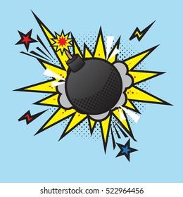 Boom bomb blast comic pop art retro style. Terrorism is a danger of destruction
