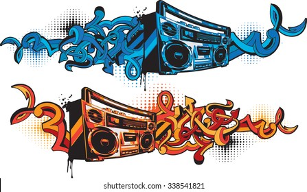 Boom box in graffiti style