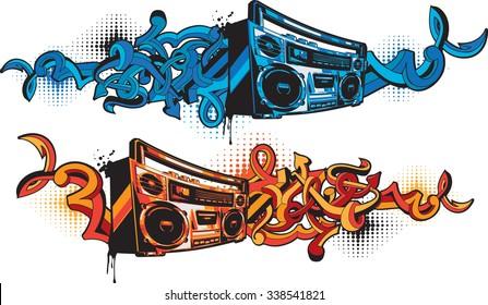 Boom box in graffiti style