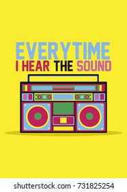 boom box poster design colorful vector illustration