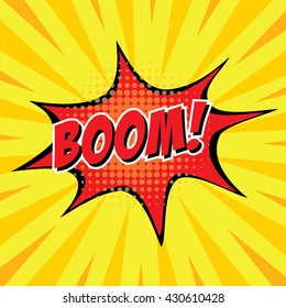 Boom, colorful speech bubble and explosions in pop art style. Elements of design comic books.Vector illustration