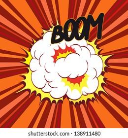 Boom. Comic book explosion, vector illustration
