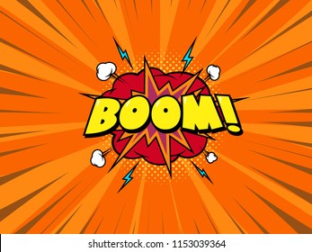 Boom comic book speech bubble, loud explosion sound effect. Superhero. Red radial speed background. Vintage style. EPS 10