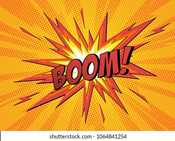 Boom comic speech bubble cartoon lightning blast.  Vector Illustration.