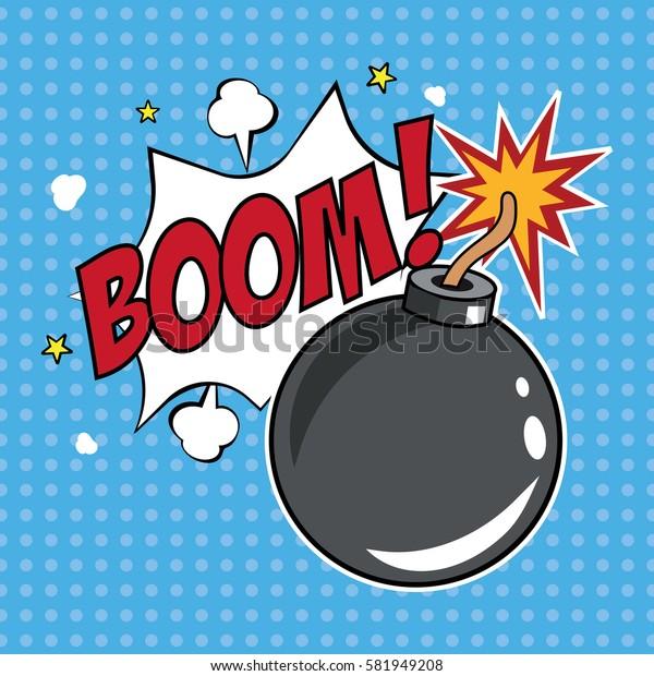 Boom, comic speech bubble, vector illustration.