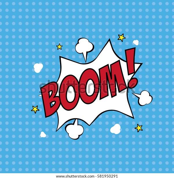 Boom, Comic Speech Bubble, Vector illustration