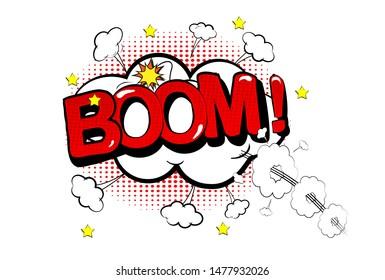 Boom Comic Speech Bubble. Yellow and red background. Lightning blast halftone dots. Cartoon vs. Vector Vector illustration