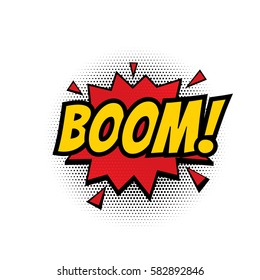 Boom comic text speech bubble vector isolated template. Sound effect bang cloud icon of color phrase lettering on white background.