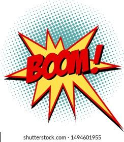 Boom comic text symbol sign cartoon pop art retro vector illustration drawing