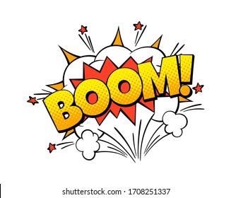 Boom comic word. Color art bubble shape with bomb explosion effect cartoon vector speech exploding sticker