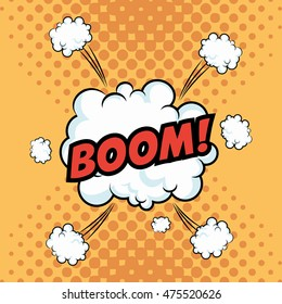 boom explosion cloud cartoon pop art comic retro communication icon. Colorful and pointed design. Vector illustration