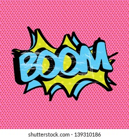 boom expression over pink background vector illustration