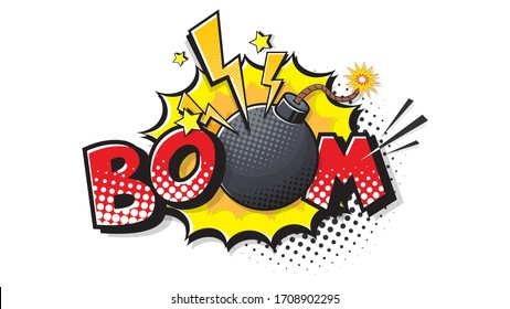 BOOM expression text. Bomb bubble in pop art style. Comic vector illustration of a bright and dynamic cartoonish dynamite image in retro style isolated on white background