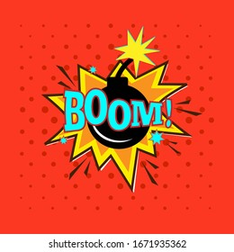 Boom! expression vector icon in pop art style.