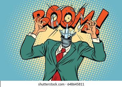 Boom, head exploded light bulb from the stress at work. Pop art retro vector illustration