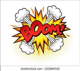 Boom isolated white comic text speech bubble