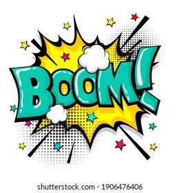 Boom isolated white comic text speech bubble. Colored pop art style sound effect. Halftone vector illustration banner. Vintage comics book poster. Colored funny cloud font.