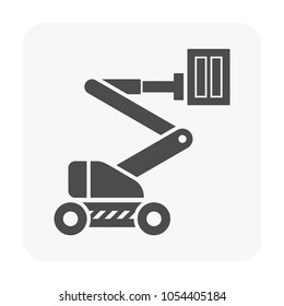 Boom lift or cherry picker vector icon. Aerial work platform or elevator. Consist of telescopic boom, bucket operated by hydraulic. For transport, maintenance, construction, service at height level.