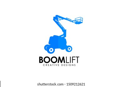 Boom Lift logo designs. boom lift equipment vector illustration
