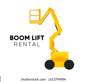 Boom Lift logo illustration on white background. Vector Truck Lift icon with caption for Retail, Repair and Rental company.