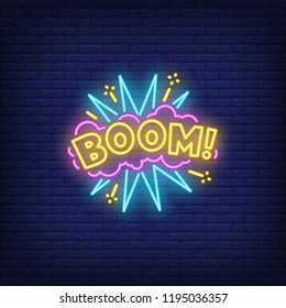 Boom neon sign. Glowing neon boom inscription on pink cloud with exclamation mark. Night bright advertisement. Vector illustration for night party and night club.