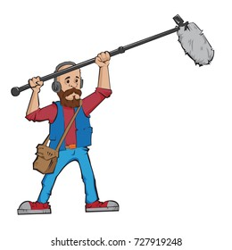 Boom operator in the process of recording sound. Vector illustration.