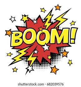 BOOM! phrase in speech bubble. Comic text. Vector bubble icon speech phrase. Comics book balloon. Halftone background.