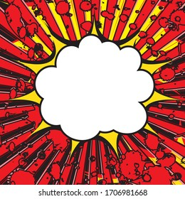 Boom pop art explosion speech bubble. For comic book and manga. Text banner. Vector bright dynamic cartoon illustration. Template poster for your design