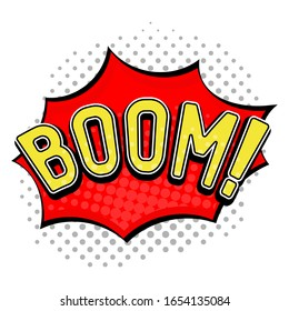 BOOM sign. Speech bubble in comic book style. Vector illustration