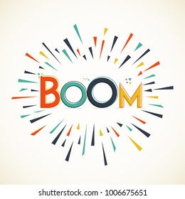 BOOM. Typography background. Vector elements Eps 10.