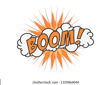 Boom vector comic cloud. Funny pop art tag. Lettering Boom, bomb. Comic text sound effects. Vector bubble icon speech phrase, cartoon exclusive font label tag expression, sounds illustration. Comics