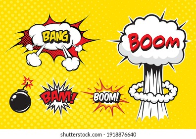 Boom. Vector Retro Comic Speech Bubble, Cartoon Comics Template stock illustration