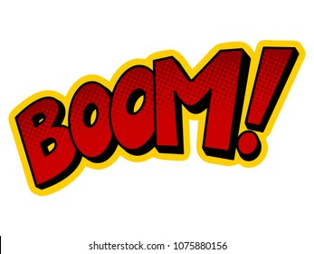 Boom word pop art retro vector illustration. Isolated image on white background. Comic book style imitation.
