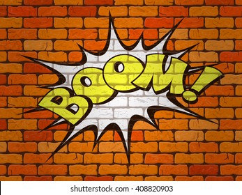 Boom word written on the wall of red brick. Retro comics. Vector illustration