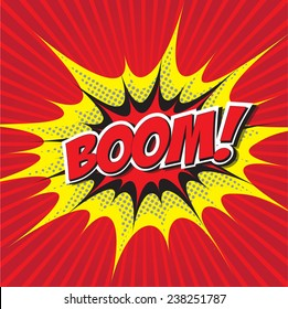 BOOM! wording sound effect set design for comic background, comic strip