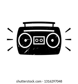 Boombox ghetto blaster grunge icon. Clipart image isolated on white background