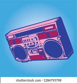 Boombox hip hop Vintage pink, blue and purple music vector illustration. Electronic musical instrument