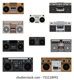 Boombox Icons. Vector Illustration.