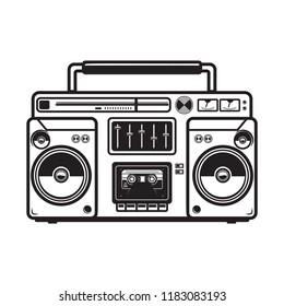 boombox illustrations on white background. Design element for logo, label, emblem, sign, badge, poster, t shirt. Vector image