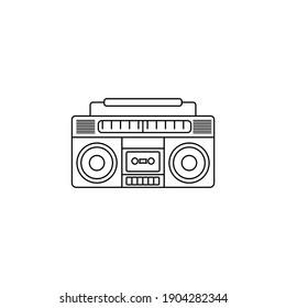 Boombox radio line art design. outline classic radio for musical template design.