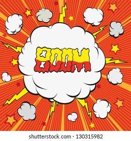 Boom.Comic book explosion, vector illustration