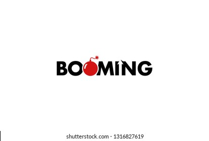 Booming logo with boom icon on O letter  and arrow on IN letter