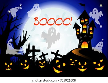 Booo. Halloween. Castle with full moon, night landscape. A pack of ghosts, crosses, jacks