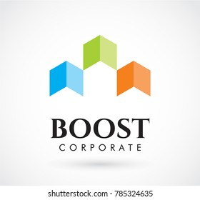 Boost up of arrow abstract vector and logo design or template business growth icon of company symbol concept