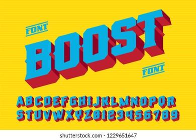 Boost font. 3D vintage alphabet letters. Vector retro illustration