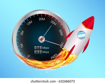 boost internet speed meter with toy rocket