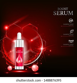 Boost Serum Collagen and Vitamin Vector Background Template for Skin Care Cosmetic Product.